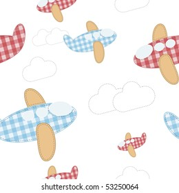 seamless vector wallpaper of cute fabric airplanes