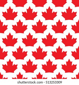 A seamless vector wallpaper made up of repeating maple leaves. This Canadian pattern would be ideal for use in textile design or wrapping paper.