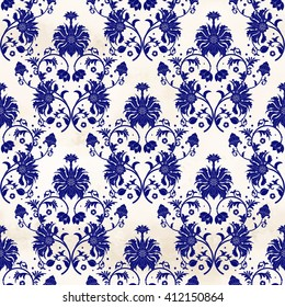 Seamless vector watercolor background with floral pattern. Imitation of chinese porcelain painting.
