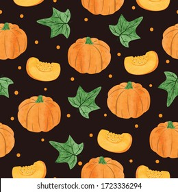 Seamless vector watercolor pumpkin pattern. Vegetable background