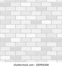 Seamless vector white brick wall - background pattern for continuous replicate.