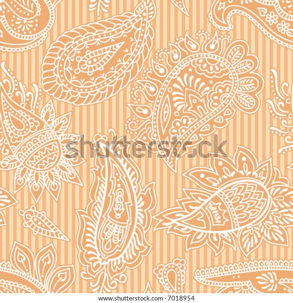 Seamless vector white and orange paisley pattern