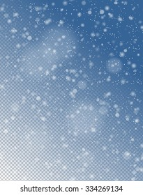 Seamless vector white snowfall effect on blue transparent background