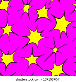 Seamless vector wow boom pattern. Yellow communication bubbles on pink background. For fabric, design, advertising banner, textile