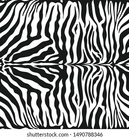 Seamless vector zebra skin pattern. 10 eps animal print for fabric, textile, design, cover, wrapping. Black and white stripes background.
