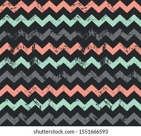 Seamless vector zigzag pattern. Abstract minimalistic ornament with elements in trendy color. Simple flat repeating texture for textile, paper or digital background