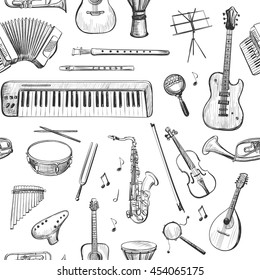 Seamless vectorial pattern of sketches of musical instruments . Isolated pictures on a white background .