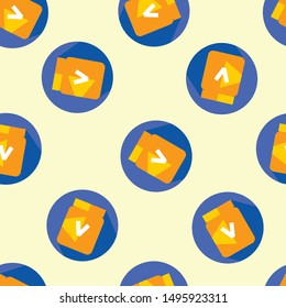 Seamless vegemite icon pattern on moccasin background. Simple flat vector design with bright colors for wrapping paper or web.