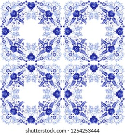 Seamless vegetative pattern made in the technique of Russian folk art Gzhel. Abstract design