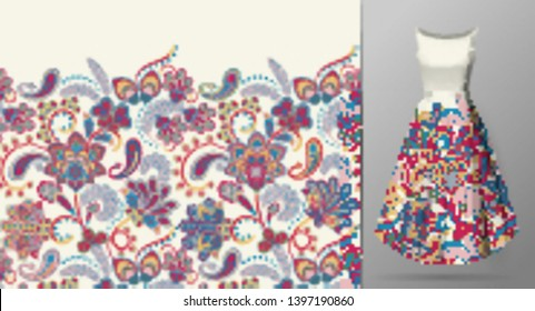 Seamless vertical fantasy flowers border pattern. Hand draw floral background on dress mockup. Vector. Traditional eastern pattern for textiles, wallpapers, decor. Pastel on white.