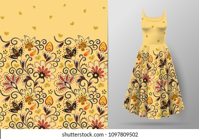 Seamless vertical fantasy flowers pattern. Hand draw floral background on dress mockup. Vector. Traditional eastern pattern for textiles, wallpapers, decor etc.