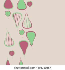 Seamless  vertical pattern with pears motif,halftone.