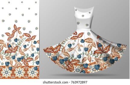 Seamless vertical raspberries design with ornate border. Floral pastel pattern on dress mockup. Vector