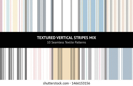 Seamless vertical stripes patterns in blue, pink, gold, grey, black, and white for dress, shirt, trousers, packaging, wrapping, or other modern designs.