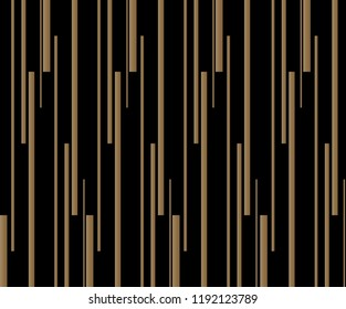 Seamless vertical stripes random pattern vector. Design line gradient gold on black background. Design print for wallpaper, textile, background. Set 7