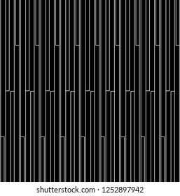 Seamless vertical turn lines pattern vector. Design stripe white on black background. Design print for illustrations, textile, wallpaper, background, banner. Set 2