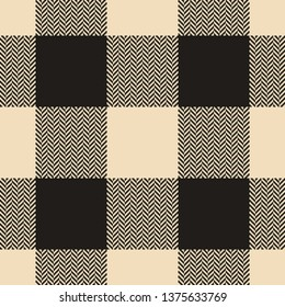 Seamless vichy / gingham / buffalo check plaid pattern in beige and dark brown for fashion textile print. Herringbone texture.