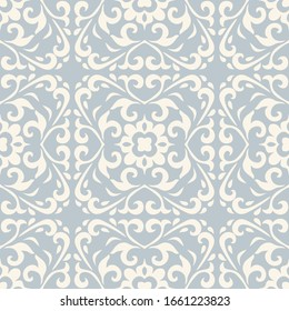 Seamless Victorian pattern. Floral Tile in turkish style. Hand drawn floral background. Vintage Wallpaper in damask style. Islam, Arabic, Indian, Ottoman motif. Vector illustration.