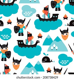 Seamless viking ship and pirate whale fish illustration for kids background pattern in vector