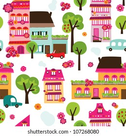 Seamless village new home background pattern in vector