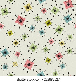 Seamless Vintage Atomic Stars Background Retro-stylized seamless atomic stars pattern on a background of boomerangs. Items are grouped so you can use them independently from the background.