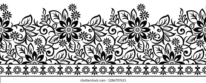 Seamless vintage black and white floral border