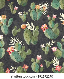 seamless vintage cactus print pattern background