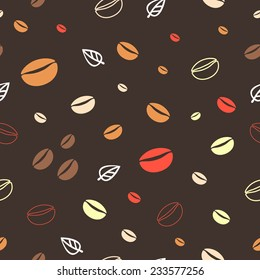 Seamless vintage coffee pattern with coffee grains and leaves.