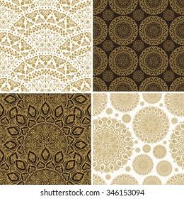 Seamless vintage floral background. Vector royal gold and black pattern. Oriental design and baroque wallpaper set