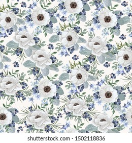 Seamless vintage floral pattern for gift wrap and fabric design. Wedding anemones