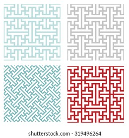 Seamless vintage geometric puzzle pattern in modern asian style