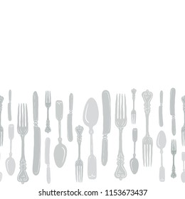 Seamless Vintage Heirloom Silverware Horizontal Border Vector Repeat Pattern in Subtle Gray Green Palette on Light Background. Great for fabric, scrapbooking, home decor, textiles, backgrounds.