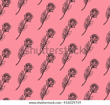 seamless vintage inspired rose pattern doodles stock vector royalty rh shutterstock com