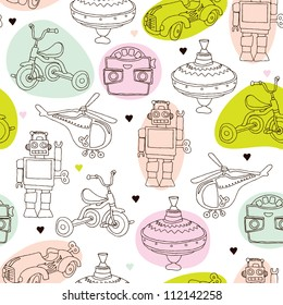 Seamless vintage kids toys background pattern in vector