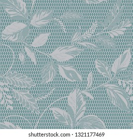 Seamless vintage;  pastel blue  lace background with floral pattern - Vector