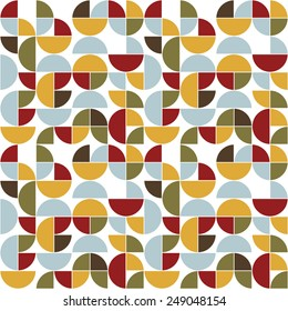 Seamless vintage pattern.  Abstract colored circles, semicircles and quadrants (red, blue, yellow, green and brown) on the white background