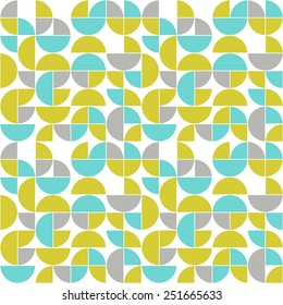 Seamless vintage pattern.  Abstract colored circles, semicircles and quadrants (blue, yellow and grey ) on the white background