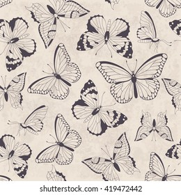 Seamless vintage pattern with butterflies. Hand drawn vector illustration. Perfect for greetings, invitations, manufacture wrapping paper, textile, wedding and web design.