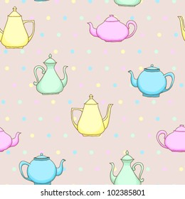 Seamless vintage pattern with colored teapots