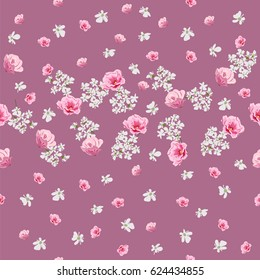 Seamless vintage pattern with cute pink and white flovers. Floral background for textile, cover, wallpaper, gift packaging, printing.Romantic design for calico.
