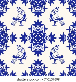 Seamless vintage pattern for design with birds and flowers. Material for Creativity