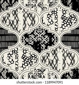 Seamless vintage pattern with an effect of attrition. Patchwork tiles