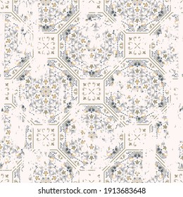 Seamless vintage pattern with an effect of attrition. Patchwork tiles. Hand drawn seamless abstract pattern from tiles. Azulejos tiles patchwork. Portuguese and Spain decor.