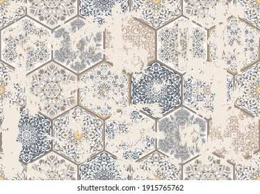 Seamless vintage pattern with an effect of attrition. Patchwork tiles. Hand drawn seamless abstract pattern from tiles. Azulejos tiles patchwork. Portuguese and Spain decor. Hexagon pattern