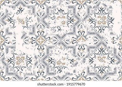 Seamless vintage pattern with an effect of attrition. Patchwork carpet. Hand drawn seamless abstract pattern with eastern motifs. Portuguese and Spain decor. vector illustration