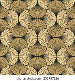seamless vintage pattern of gold overlapping arcs in art deco style. each color in separate layer.