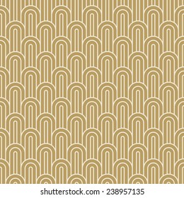 seamless vintage pattern of gold overlapping arcs in art deco style.