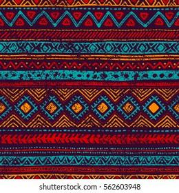 Naadloos vintage patroon. Grungy textuur. Etnische en tribale motieven. Blauwe, oranje, rode en paarse kleuren. Vector illustratie.