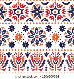 Seamless vintage pattern. Horizontal lines on a white background. Abstraction, flowers, ethnic and tribal motifs. Vector illustration.