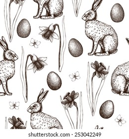 Seamless vintage pattern with ink hand drawn Easter illustrations. Vector background with hare and narcissus flowers sketch.